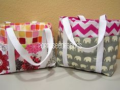 Easy bag tutorial. Love the fabrics in the pic too.