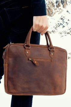 Men s Leather Business Briefcase 13