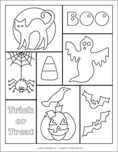 Free Halloween coloring pages - Halloween coloring sheets Patterns could be used for scrapbook page