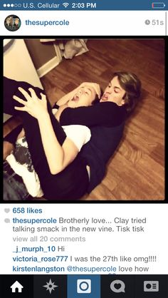 """Clay Ryan and Cole with their """"brotherly love"""" :) (Cole is holding Clay)"""