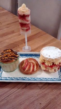 WINNER! #Glutenfree Chocolate and orange bread and butter pudding, sticky toffee apple tart, creme patt and strawberry conserve mini gateaux and a Manchester tart push up - all made by Denise Milnes.