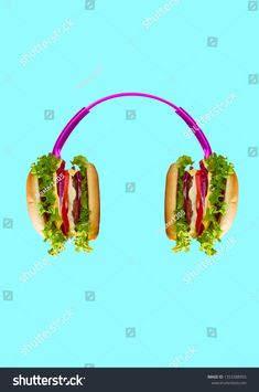 Music tastes so delicious. Pink headphones with burgers as a dynamics against light blue background. Tasty food and juicy sound concept. Food Advertising, Creative Advertising, Interactive Web Design, Buffalo Burgers, Pink Headphones, Food Banner, Food Poster Design, Best Ads, Collage Design