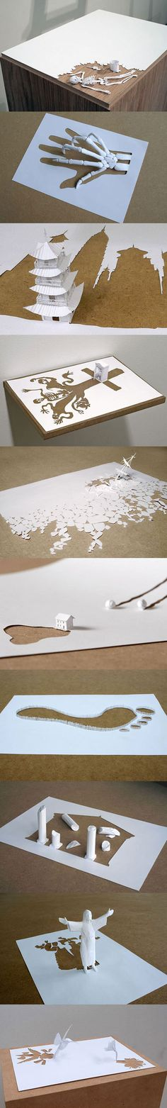 Amazing single sheet paper art by Peter Callesen.