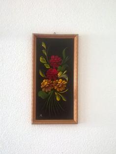 Quadro in legno con dipinto di fiori vintage di GMG1982 su Etsy