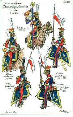 French Lancers of the Guard (Red Lancers). Despite the dates, all uniform… Waterloo 1815, Battle Of Waterloo, Military Art, Military History, First French Empire, Military Drawings, War Of 1812, French Army, Napoleonic Wars