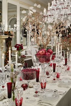 Amy Lau Dining Room Holiday House 2014 NYC Showhouse -- pomegranates and cranberries in crystal bowls, so elegant yet simple