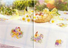 Cross-stitch Easter Chickens Tablecloth, part 1...   Пасхальная тема для скатерти от Rico | Мои рукодельки