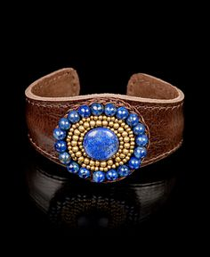 Nakamol Leather Cuff Bracelet with Stone Medallion