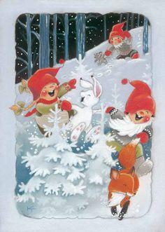 Kaarina Toivanen Christmas Scenes, 1st Christmas, Christmas Wishes, All Things Christmas, Vintage Christmas, Christmas Crafts, Winter Illustration, Christmas Illustration, Pattern Illustration