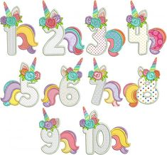 "Unicorn Numbers Applique Designs by JuJu Exclusive Calling all unicorn lovers! Here are a set of ""unicorn numbers"" in applique. Fabulous for those birthday girls! 4 sizes included: and Unicorn Birthday Parties, Birthday Party Decorations, 5th Birthday, Applique Designs, Machine Embroidery Designs, Unicorn Pinata, Unicorn Balloon, Unicorn Head, Unicorn Pictures"