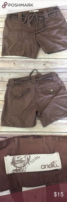 "O'Neill Brown Shorts Size 3 Oneill brown shorts, Size 3   Measurements: Waist: 30"" Inseam: 5"" Rise: 8""  Stock #1470 Oneill Shorts"