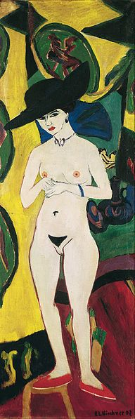 Die Brucke- Ernst Ludwig Kirchner - Standing Nude with Hat.