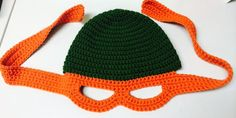 TMNT beanie hat with attached mask pattern