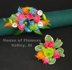 Colorful wrist corsage and matching boutonniere