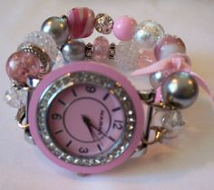 Pink  Interchangeable Chunky Beaded Watch Band with Pink Face