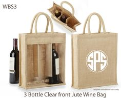 3 Bottle Jute Wine Bags, custom printed (back only).  Excellent bag for wineries, packaging, stores, wine shops, gifts and more. Eco-friendly: naturally biodegradable, recyclable, reusable & from a renewable source.