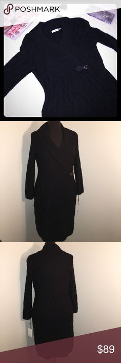 {NEW} CALVIN KLEIN Black Sweater Dress Black cable knit sweater dress with shawl neckline and buckle detail. Long sleeve.  NWT ▪REASONABLE OFFERS WELCOMED or BUNDLE FOR A SPECIAL DISCOUNT ▪️ Calvin Klein Dresses Long Sleeve