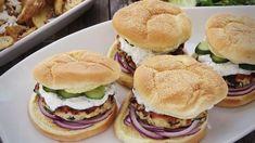 Spinach and Feta Turkey Burgers Recipe Spinach and Feta Turkey Burgers Serve with red onion, Persian cucumber, tzatziki Feta Burger Recipe, Turkey Burger Recipes, Turkey Burgers, How To Make Spinach, Food To Make, Grilling Recipes, Cooking Recipes, Healthy Recipes, Healthy Dishes
