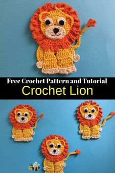 Here's a free lion crochet pattern and video tutorial at Kerri's Crochet along with other crochet animal patterns. #Crochet #CrochetLion #CrochetAnimals