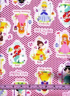 So cute!} One Yard Japanese Cotton Fabric Disney Princess by emicraftinjapan, $26.00
