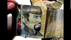 Spock on a $5 Canadian bill