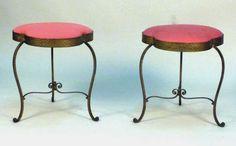 Pair Art Deco Style Round Benches