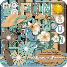 Soothing Summer Digital Scrapbooking Kit by Latte Dah Designs