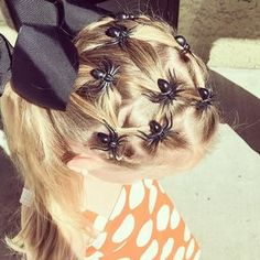Pin for Later: It's Scary How Impressive These 23 Halloween-Inspired Braids Are Although all the hype over Halloween is out of anticipation of that one glorious day, your little one doesn't have to wait until Oct. 31 to get into the spooky Kids Braided Hairstyles, Holiday Hairstyles, Little Girl Hairstyles, Cute Hairstyles, Halloween Hairstyles, Vintage Hairstyles, Wedding Hairstyles, Wacky Hair Days, Crazy Hair Days