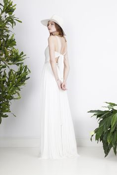 Fluid silk tulle wedding dress with graphic lace insertions and playful back details. Divine Atelier, Justine, Wedding Gowns, Designers, Tulle, White Dress, Bohemian, Couture, Silk