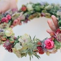 floral crown in pinks and greens - wear or carry on wedding day - kranz