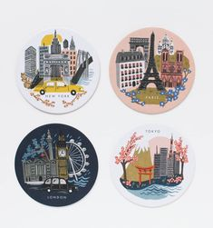 Rifle Paper Cities coaster set - I love almost everything these guys make, but we do need some new coasters. Spot Illustration, Illustrations, Design Thinking, Cute Coasters, Plastic Box Storage, Rifle Paper Co, Instagram Highlight Icons, Holiday Gift Guide, Home Improvement Projects