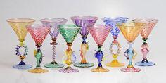 Tutti Frutti Martini Goblets by Robert Dane: Art Glass Goblets - Artful Home