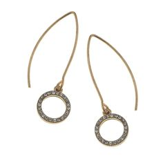 Open Pave Circle Marquis Earring Wire 12