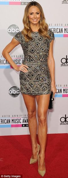 Competing for the longest legs award?: Stacy looked simply fabulous on the AMA #RedCarpet