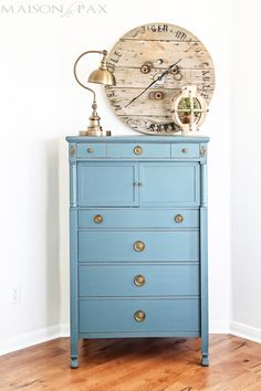 Gorgeous Antique Dresser Painted Blue And Lightly Distressed Best Way To Paint Furniture No