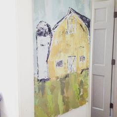 While I'm waiting to ship work out to galleries I don't waste any time having them lay around. I hang them all over my home so I can enjoy them one last time before they arrive in their forever home. #art #artists #artlove #artist #artwork #barn #barnlife #yellow #chapel #country #countryliving #farm #farmlife #farmhouse #abstract #home #handcrafted #lindseypemery #lindseypedesigns #reclaimedbeams #rustic