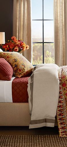 Fall is the time to add to your bedding, add colorful layers for warmth and and inviting feel