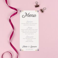 Menu - Viola - Vintage Watercolour Florals - EivisSa Kind Designs, Wedding Stationery West Midlands www.eivissakinddesigns.co.uk