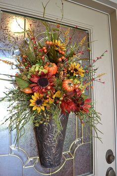 Fall Arrangement In Metal Container.