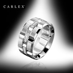 Men's Wedding Band This extra wide men's wedding band from the Carlex collection has been manufactured with a Comfort Fit and has been designed and constructed to the highest standards in the industry. (18K white gold, 24 diamonds, total weight 0.42ct, Model #WB-9166.)