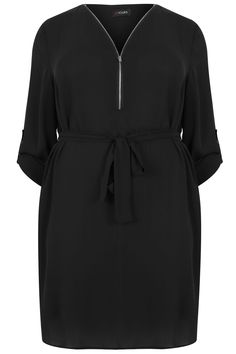 Black Zip Front Dress With Waist Tie