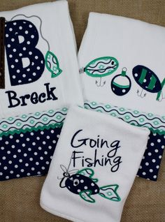 Embroidered and Appliqued Fishing Burp Cloths  and Bib for  Girls and Boys in Navy and Teal by AppliquesByGranjan on Etsy https://www.etsy.com/listing/197201920/embroidered-and-appliqued-fishing-burp
