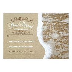 """Elegant beach wedding RSVP card 3.5"""" X 5"""" Invitation Card"""