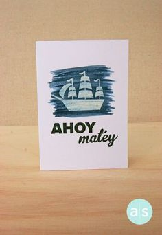 One layer card. Background created with A Muse Studio Splash ink. Stamps from the Anchors Aweigh stamp set. All products by A Muse Studio.  #amusestudio #cleanandsimple #onelayercard #nautical