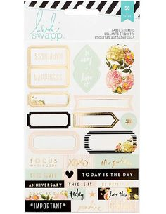 HEIDI SWAPP: Memory Planner Label Stickers This package contains two 4x6 inch sheets with fifty stickers total.