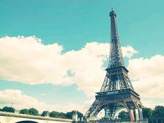 blue, clouds, eiffel tower, paris, sky, tower, white