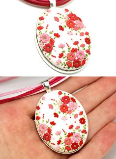 Oval Floral Pendant Necklace White Red Coral Necklace with Flowers Feminine Jewelry Floral Polymer Clay Applique Clay Embroidery