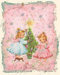 Cute Vintage Christmas Illustration  #pastel #pink