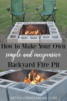 How to Make Your Own Fire Pit with this simple DIY fire pit tutorial! This backyard fire pit is simple and inexpensive to make. Cheap Fire Pit, How To Build A Fire Pit, Easy Fire Pit, Fire Pit Grill, Cool Fire Pits, Fire Pit Area, Fire Pit Table, Fire Pit Backyard, Building A Fire Pit