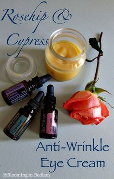 Rosehip Cypress Anti-Wrinkle Eye Cream- DIY Essential Oil skin care- Rosehip for anti-aging and Cypress for tightening. I saw results in 1 week. Before and After pics in the post! #SkinCare